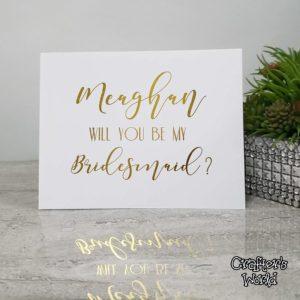 Bridesmaid Card Gold Foil