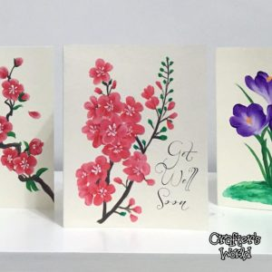 Cherry Blossom Painted Card | Hand painted Personal Cards Toronto | Wedding cards Toronto |