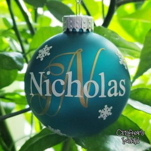 Name & Initial Ornament – Teal