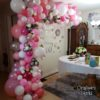 Crafter's World Event Setup Pink and Silver Balloons 60th Birthday Party Custom Decor
