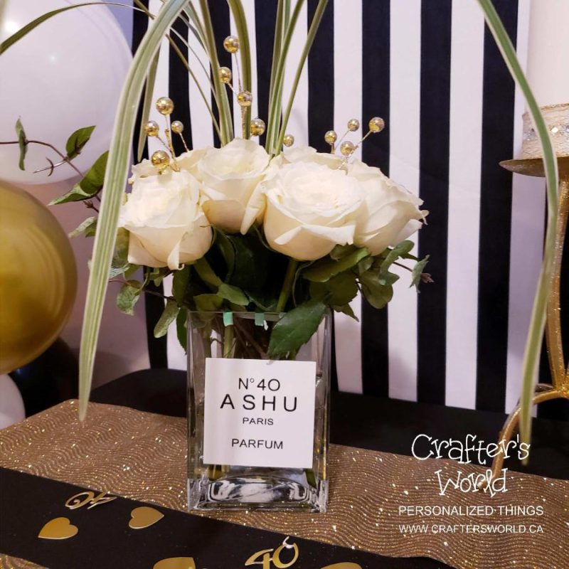Crafter's World Event Setup Chanel Theme Flower Vase Chanel Perfume