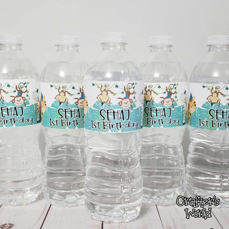 Crafter's World Custom Water Bottle Labels Jungle Theme 1st Birthday Sehaj