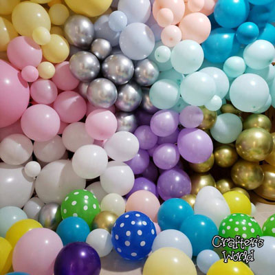 Crafter's World Balloons Backdrop Party Set Up